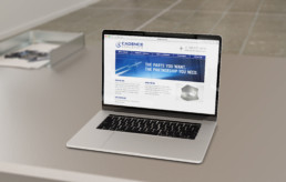 Cadence Aerospace web design on laptop by advertising agency in Philadelphia