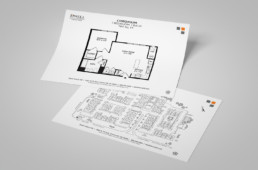 Dwell Cherry Hill floorplan and siteplan insert design by advertising agency in Philadelphia