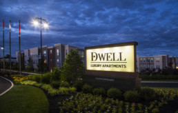 Dwell Cherry Hill illuminated entrance monument by advertising agency in Philadelphia
